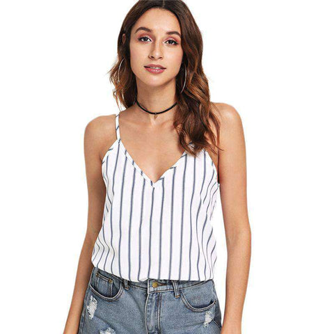 Multicolour Backless Double Deep V-Neck Striped Cami Top