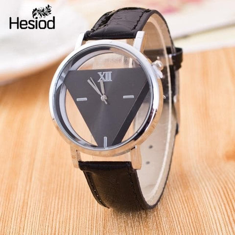 Elegant Hollow Triangle Thin Leather Strap Quartz Watch