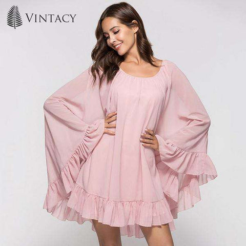 Trumpet Mermaid Chiffon Ruffles A-line Batwing Sleeve Dress
