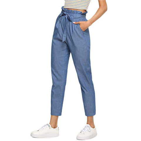 Blue Belted Ruffle Mid Waist Straight Leg Solid Pants