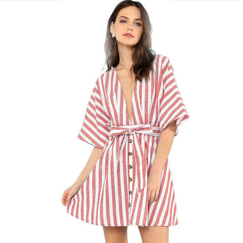 Multicolour Bohemian Backless Deep V Neck Button Front Red Striped Belted Dress