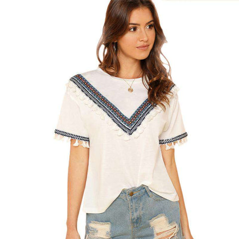 Beige Embroidered Tape And Tassel Embellished O-Neck Short Sleeve Top