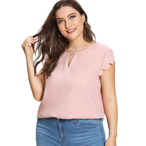 Pink Scallop Trim Short Sleeve O-Neck Curved Hem Top