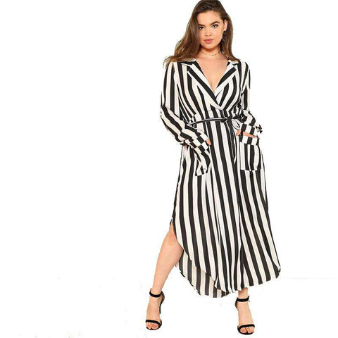 Black And White Stripe V Neck Belted Plus Size High Waist Split Side Striped Maxi Dress