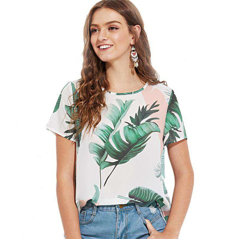 Multicolour Jungle Leaf Print Keyhole Back Round Neck Short Sleeve Blouse Top