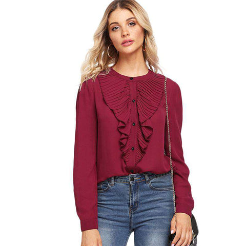 Burgundy Pleated Ruffle Trim Stand Collar Long Sleeve Top