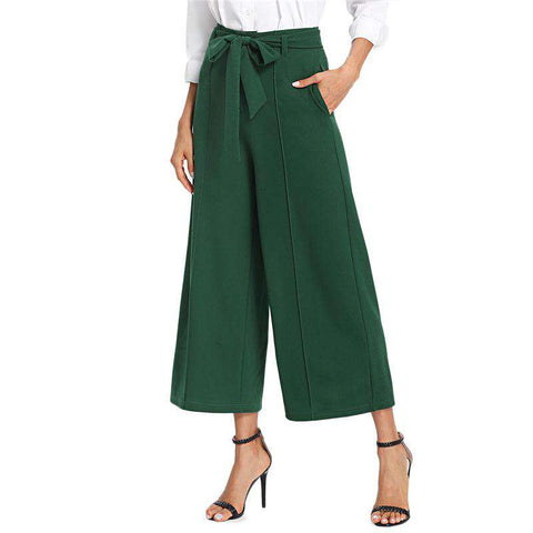 Pocket Side Belted High Waist Wide Leg Green Pleated Crop Pants Trousers