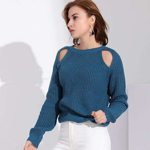 Long Sleeve Off Shoulder Jumper Knitted Sweater Pullover