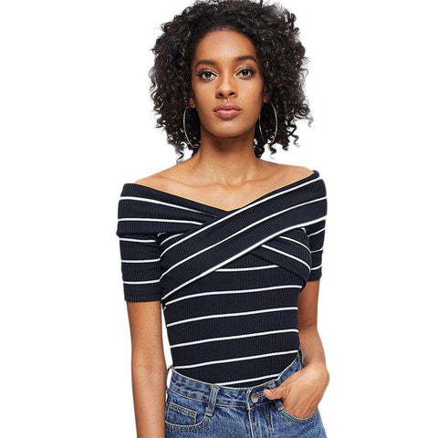 Blue Crisscross Front Striped Ribbed Off Shoulder Short Sleeve Tee Top