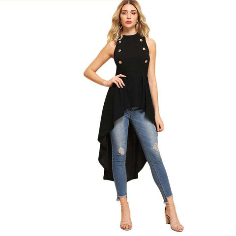 Black Double Button Asymmetrical Embellished Dip Hem Shell Round Neck Top Blouse
