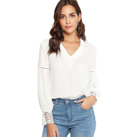 Laser Cut Insert Guipure Lace Cuff White V Neck Long Sleeve Cut Out White Top