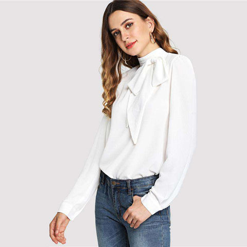 White Mock Neck Bow Embellished Stand Collar Long Sleeve Blouse Top