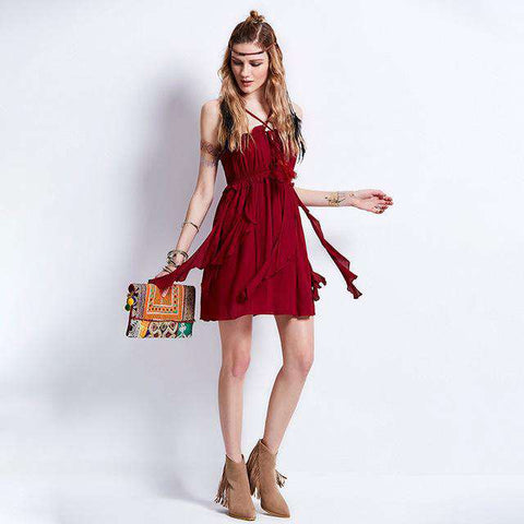 Burgundy Strap Tassel A-Line Ruffle Sleeveless Chic Cotton Boho Mini Dress