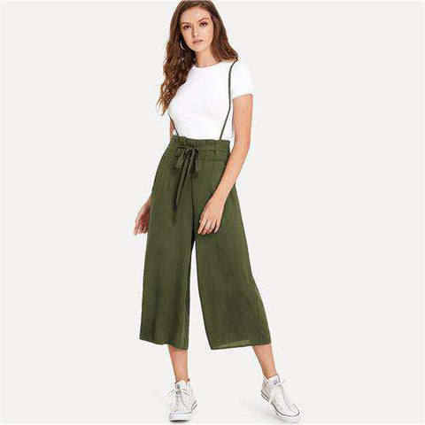 Knot Front Pleated Back Straps Sleeveless Pants Mid Waist Wide Leg Jumpsuit