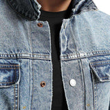 Pockets Hole Fashion Ripped Slim Fit  Jeans  Denim Jackets
