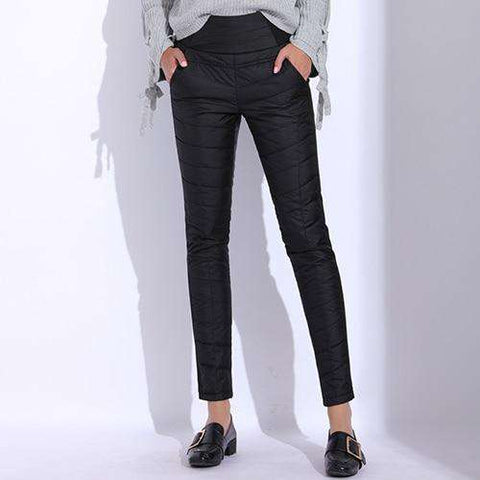 High Waist Elastic Warm Velvet Pencil Pants