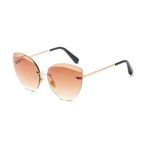 Cat Eye Oval Designer Big Eyebrows Eyewear Oversized Sunglasses UV400