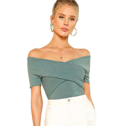 Green Wrap Off Shoulder Short Sleeve Slim Top