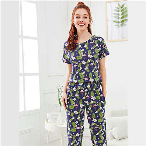 Floral Animal Tropical Flamingo & Flower Print Round Neck Short Sleeve Nightwear
