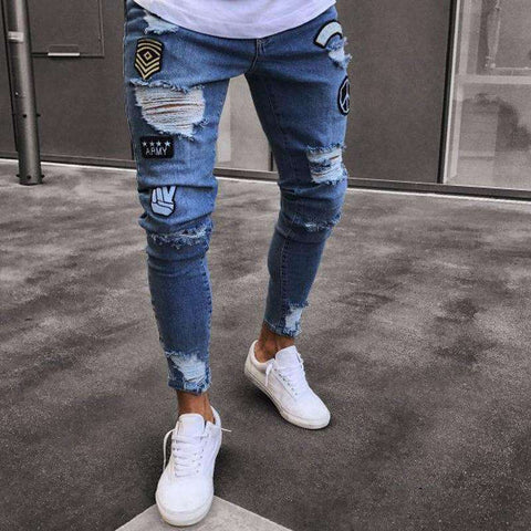 Hole Embroidered Slim Denim Pants Jeans
