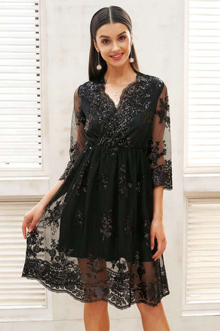 V neck Three Quarter Sleeve Sequin Dress