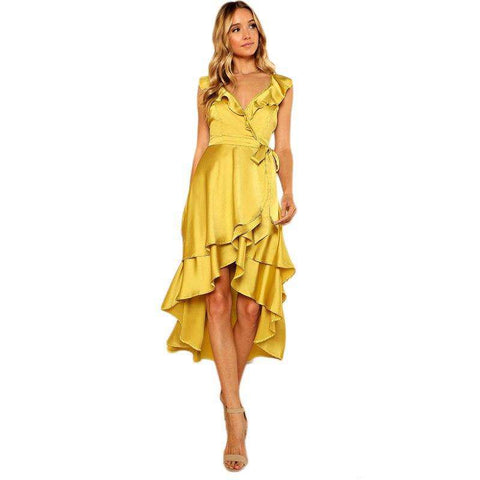 Crisscross Backless Tiered Ruffle Dip Hem Deep V Neck Backless Belt Satin Dress