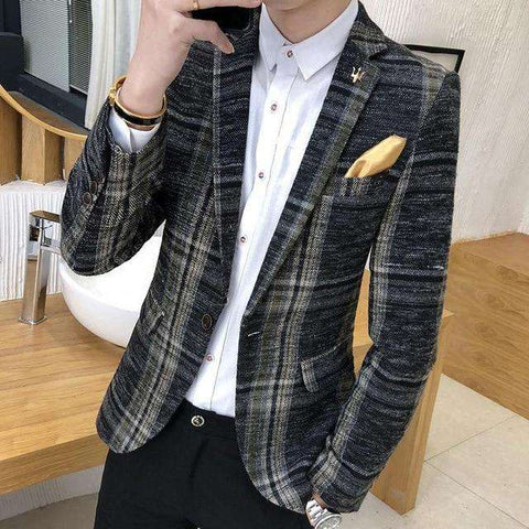 Slim Fit Plaid Tweed Button Blazer Jacket