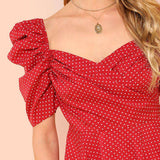 Burgundy Bohemian Polka Dot Short Sleeve Wrap Front Blouse Shirt Top