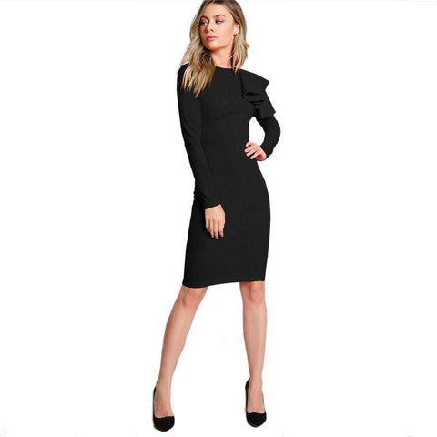 Black Ruffle Knee Length Slim Fit Pencil Midi Dress