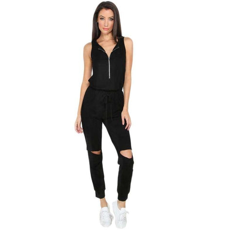 Drawstring Ripped Black Sleeveless Zipper Cutout V Neck Low Waist Jumpsuit
