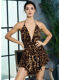 Deep V-Neck Open Back Ruffled Leopard Chiffon Playsuit Jumpsuit
