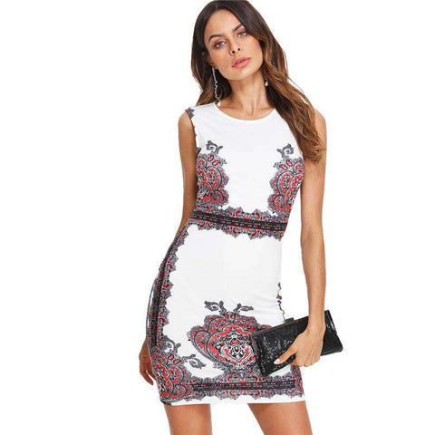 Floral Print Sleeveless O Neck Slim Damask Form Party Fitting Short Dress