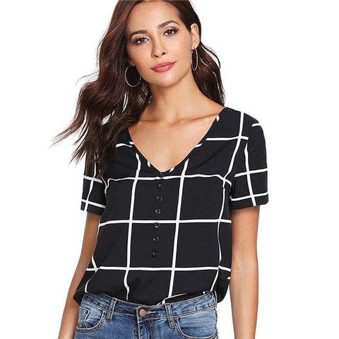 Plaid Buttoned V Neck Black and White Short Sleeve Blouse Top