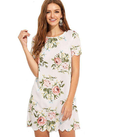 Straight Short Sleeve Floral Print Preppy Scalloped Edge Botanical Print Short Dress