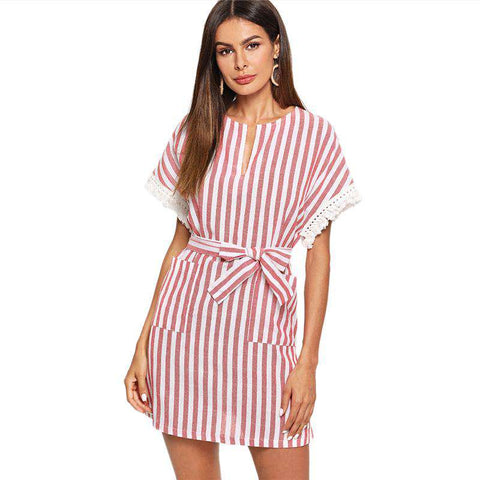 Red Minimalist Pocket Up Belted Striped Round Neck V Cut Out Natural Waist Dress