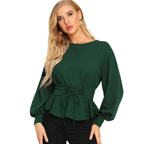 Lace Up Boat Neck Blouses Long Sleeve Green Lantern Sleeve Top with Corset Belt