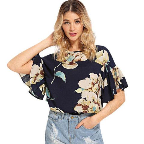 Multicolour Bohemian Beach Floral Print Ruffle Sleeve Keyhole Back Blouse Top