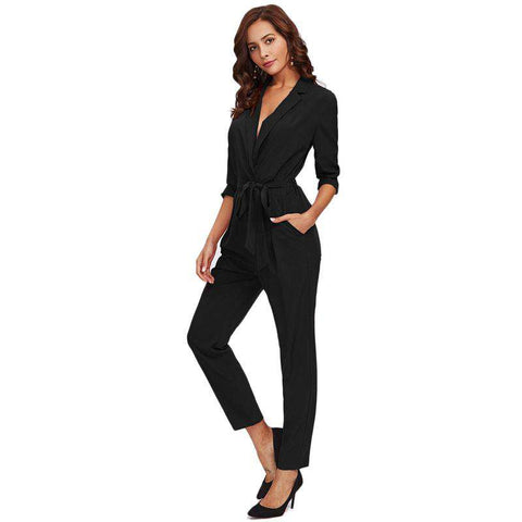 Plain Black Wrap And Tie Detail Tailored Long Sleeve Pocket Jumpsuit