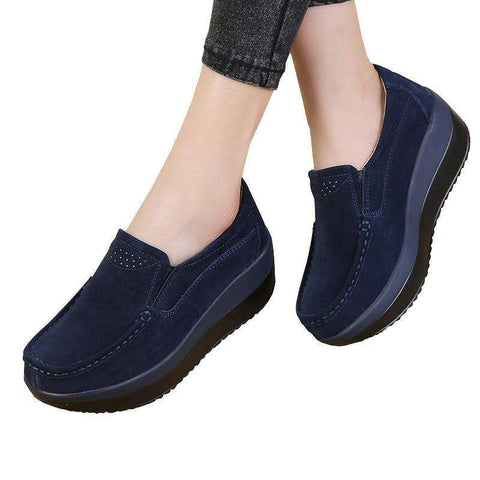 Elegant Genuine Leather Moccasins Shoes Slip On Flats Platforms Loafers