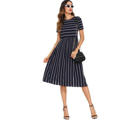 Navy Round Neck Short Sleeve Mixed Stripe Natural Waist Smock Dress