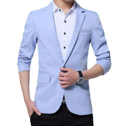 Single Breasted Cotton Linen Slim Fit Blazer