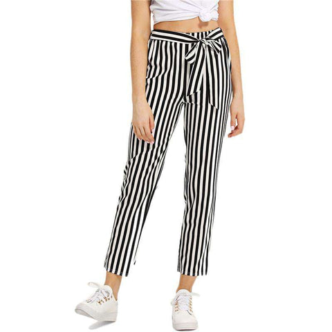 Self Tie Waist Striped Black and White Mid Waist Crop Straight Leg Pants