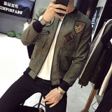Slim Fit Suede Bomber Jacket With Patch Pocket