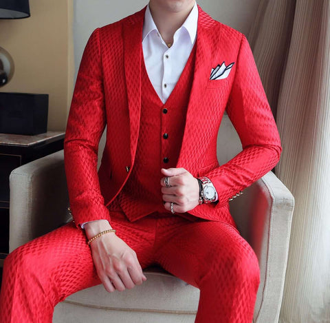Single Breasted Luxury Jacquard Elegant Suit