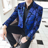 2 Button Blue Paisley Flower Pattern Velvet Blazer