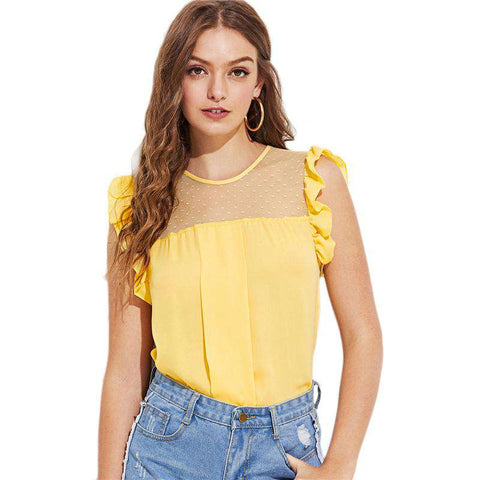 Dot Mesh Neck Ruffle Trim Yellow Round Neck Sleeveless Blouse Top