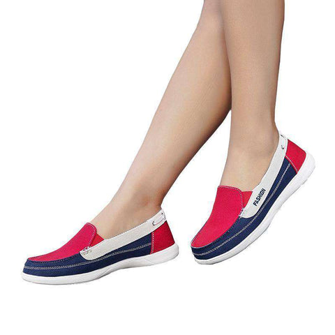 Mixed Colours Flats Slip On Canvas Shoes