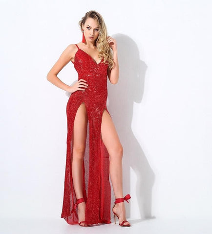 Red Cut Out Deep V Neck Open Back Elastic Sequins Long Dress