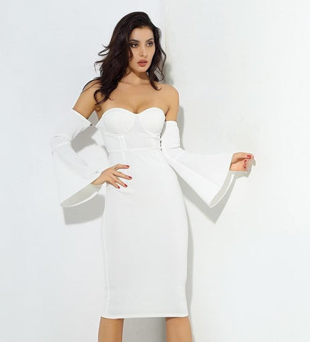 White Tube Top Speaker Sleeve Thick Fabric Party Dress