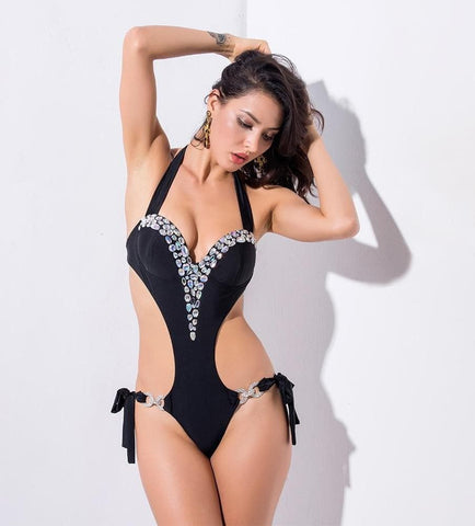 Black Chest Pad Cut Out Beaded Decoration Drop Shoulders Beach Bodysuit Swimwear